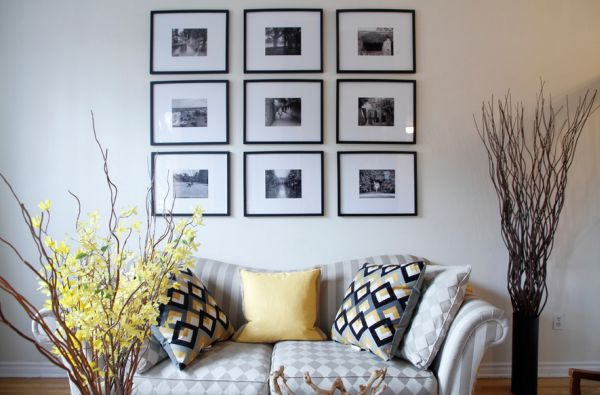 View in gallery splashes of yellow accents surround photo arrangement in black and white