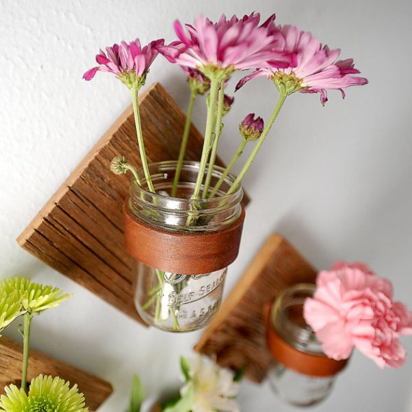 Square sconces with mason jar vases