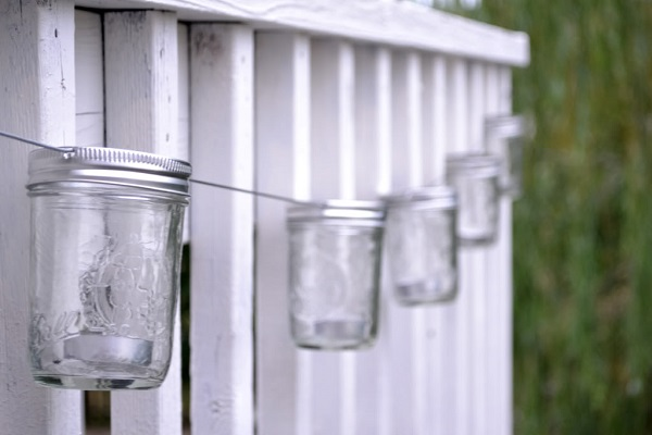Stringed mason jar candle lanterns