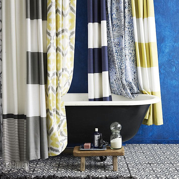 Striped and patterned shower curtains