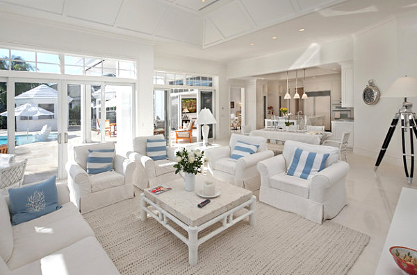 Striped blue pillows in a bright living room