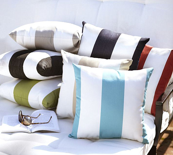 Striped indoor and outdoor pillows