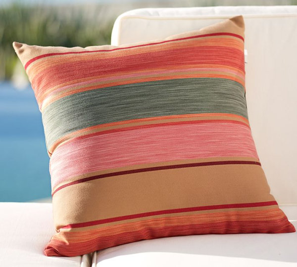Striped indoor-outdoor pillow