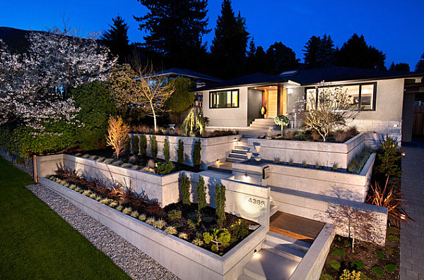 Terraced front yard landscaping