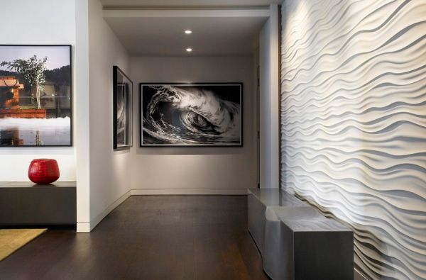 Textured and wavy wall in white complements the image of a crashing wave perfectly