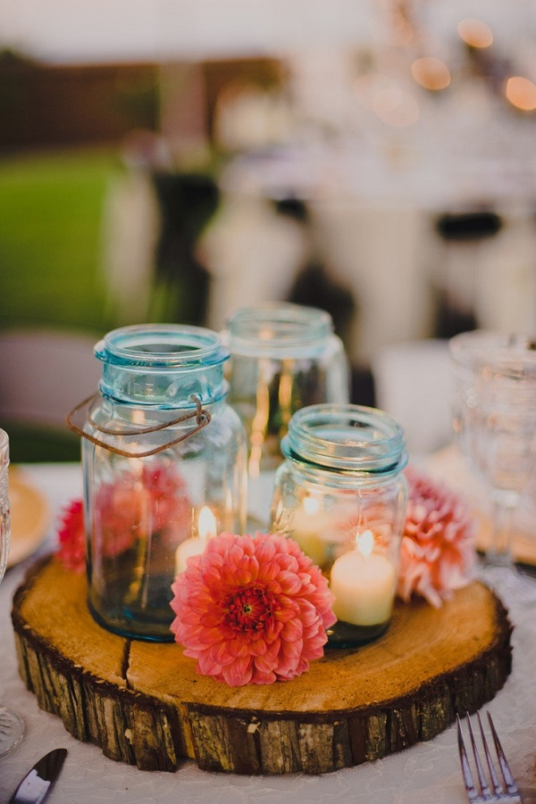 Tree medallion centerpiece with mason jars Table Decor for a Dining Transformation