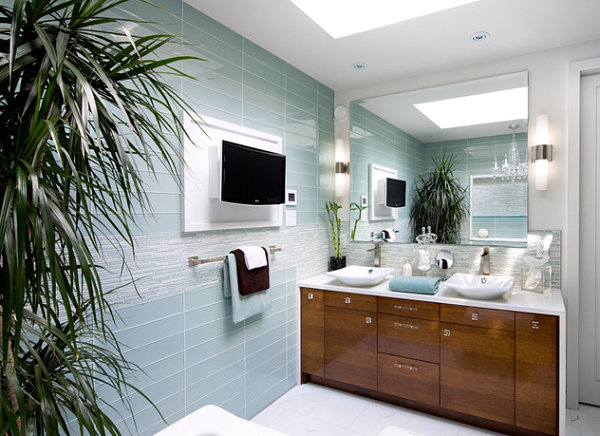 Tropical foliage in a modern bathroom