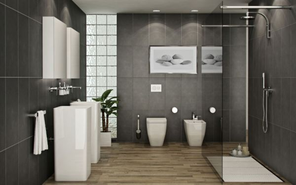 View In Gallery Uber Stylish Modern Bathroom In Grey, White And Black    Simply Ravishing!