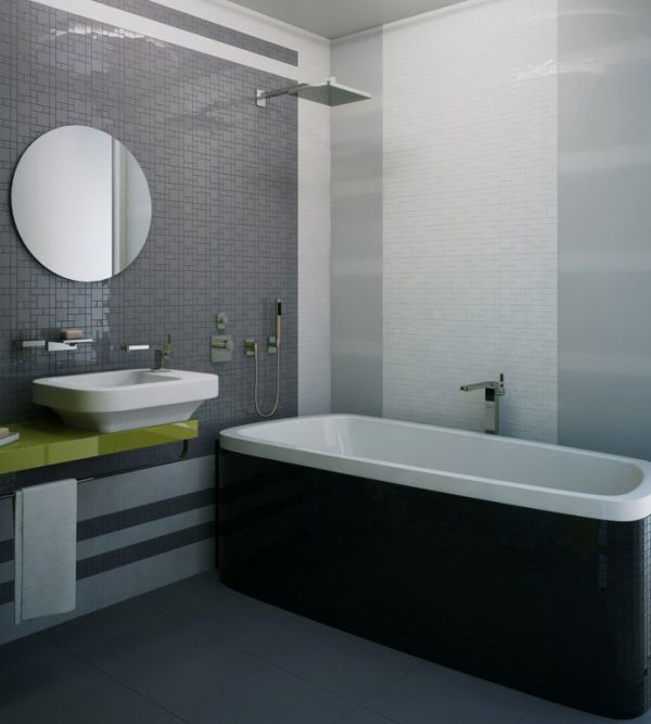 Various shades of gray coupled with white and black create a stunning minimalist bathroom