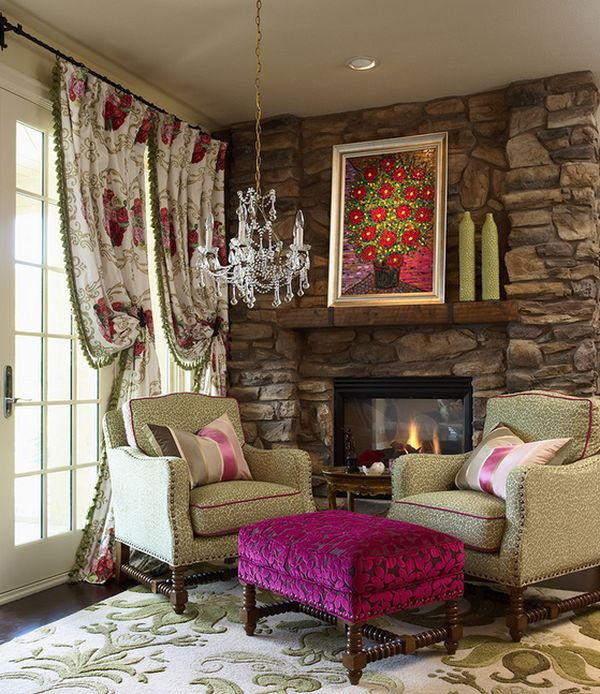 Velvet fuchsia coupled with light green leopard print chairs for eclectic interiors