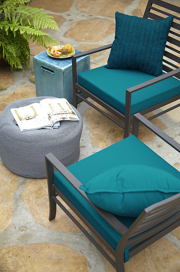 Vibrant blue patio cushions