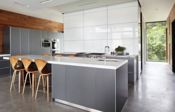 Warm wooden surfaces work well alongside gray in the kitchen