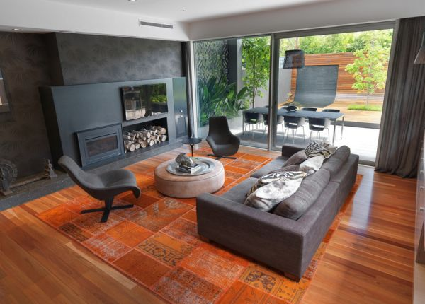 Warm wooden tones combined with serious grey