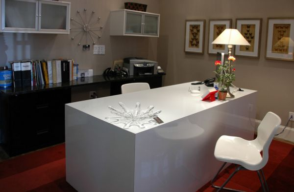 Warmer shades of gray along with white and red are ideal for a lovely home office