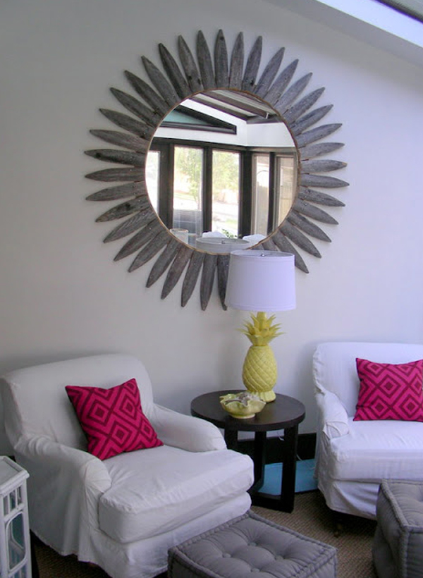 Weathered wood sunburst mirror frame