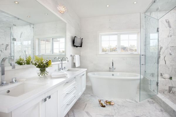 White And Gray Combination In The Bathroom Exudes Luxury And Richness