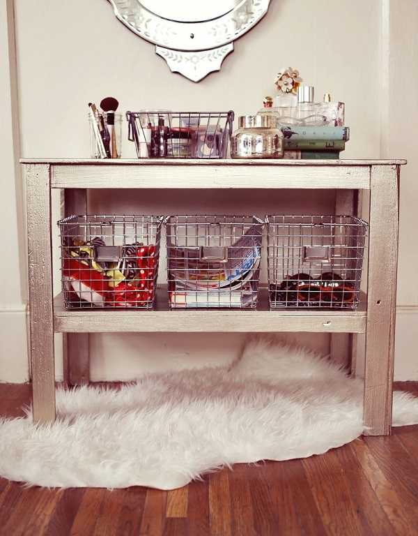 Wire basket side table storage