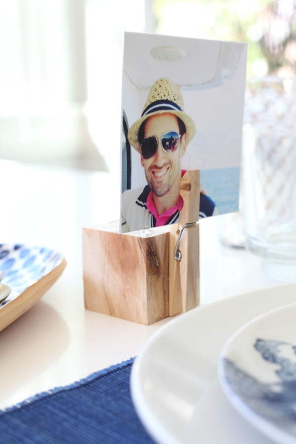 Woodblock place card with photograph DIY