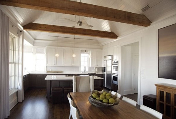 Wooden beams in a modern country kitchen