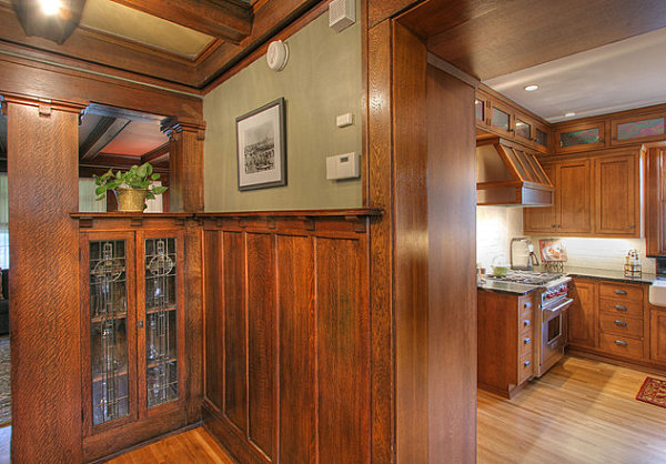 Wooden detailing in a historical kitchen