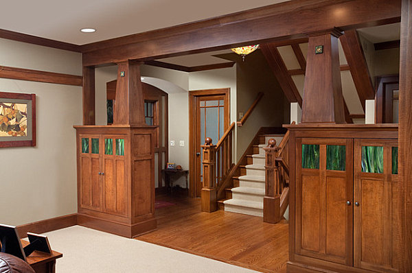 Wooden detailing in the interior of a craftsman home