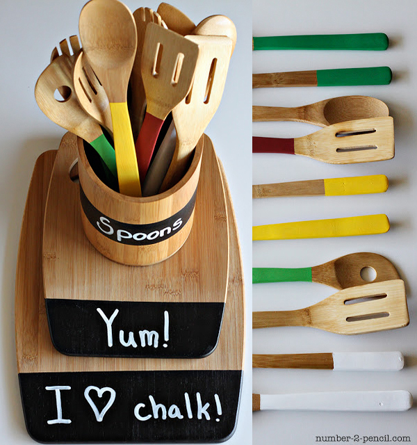 Wooden utensil caddy with chalkboard paint labels