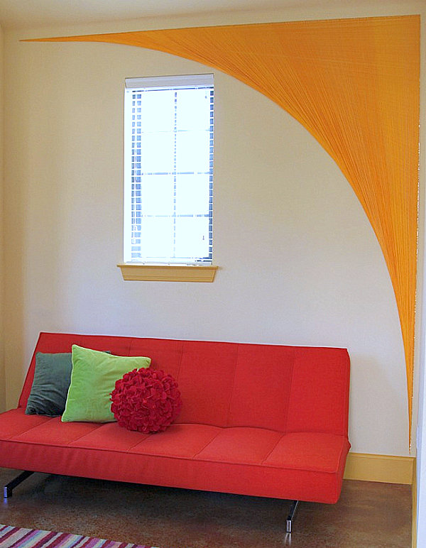 Yarn wall art arch