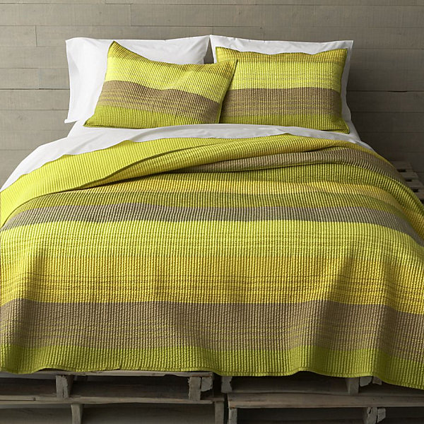 Yellow-green striped bedding