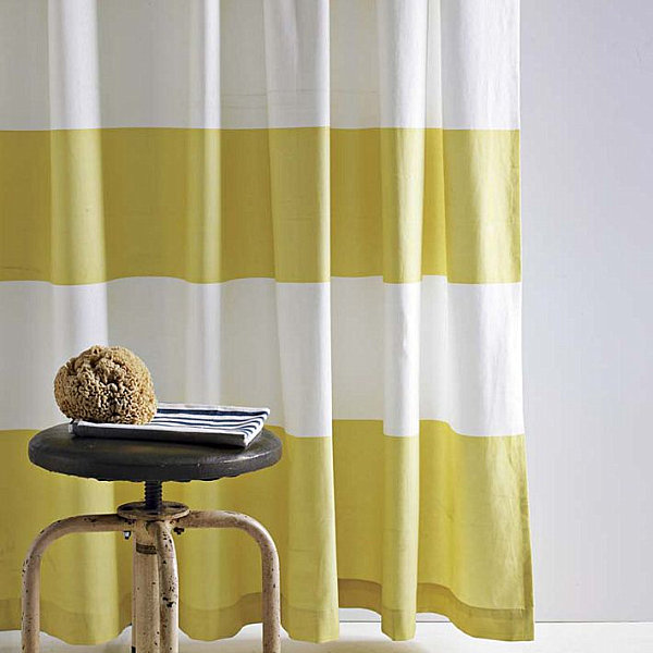 Yellow stripe shower curtain