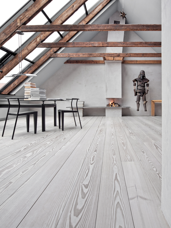 attic design with Danish flooring