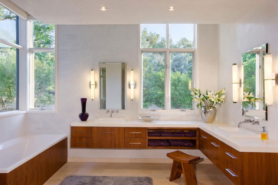bathroom with wood furniture
