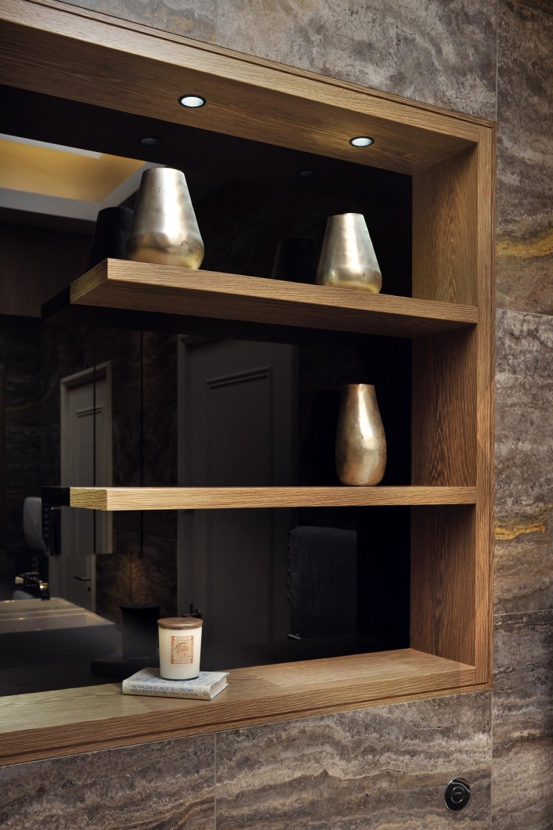 bathroom wood shelving