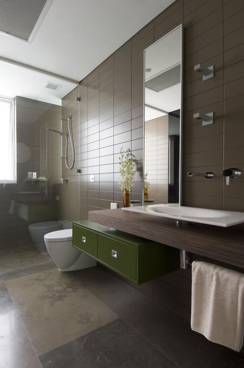 bright brown bathroom tiles