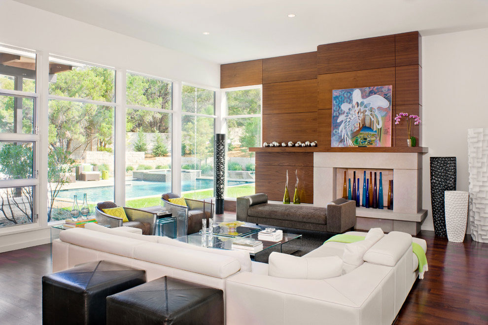 cool living room with white leather L shaped sofa