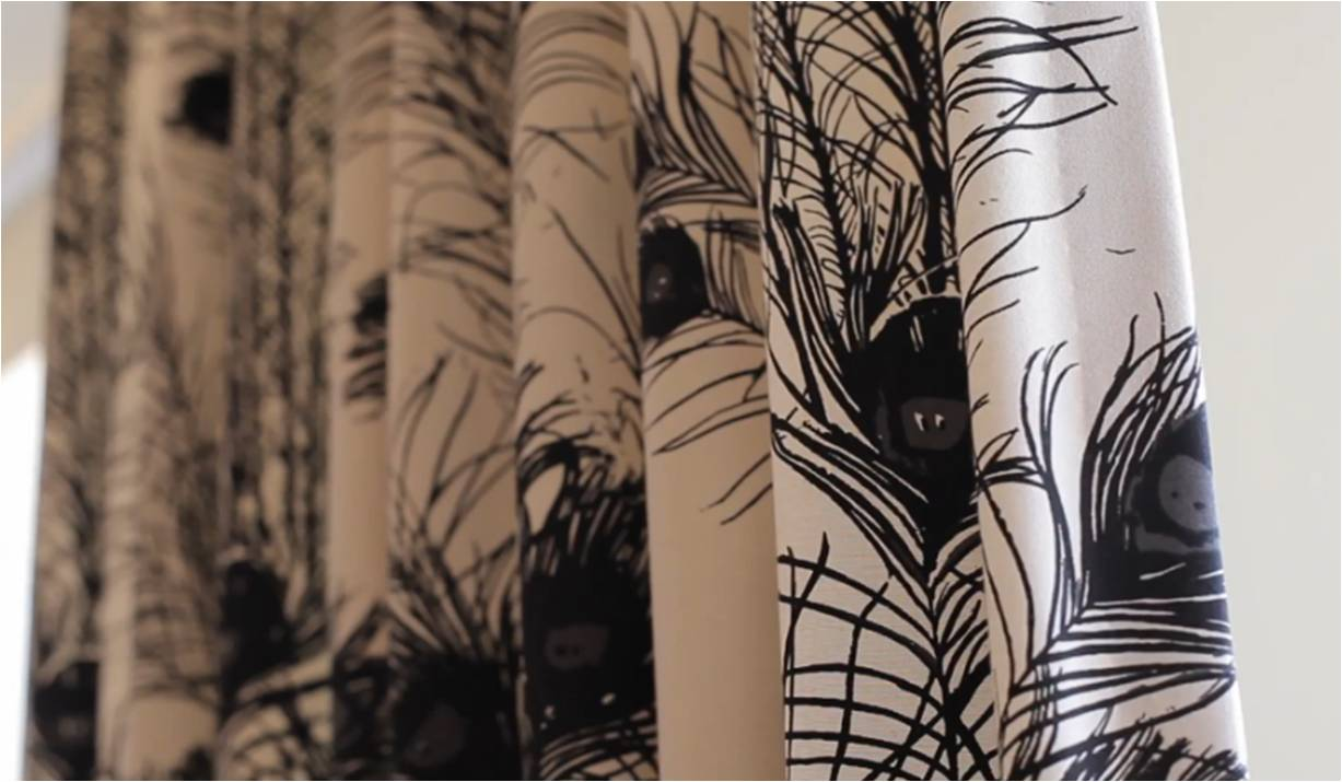 curtains with black graphics