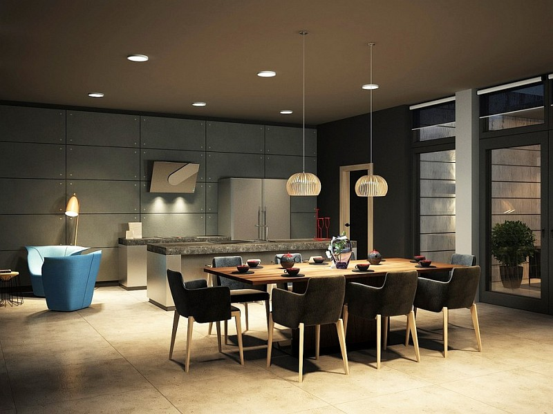 Dark magic sophisticated kiev apartment with striking for Modern dining room design
