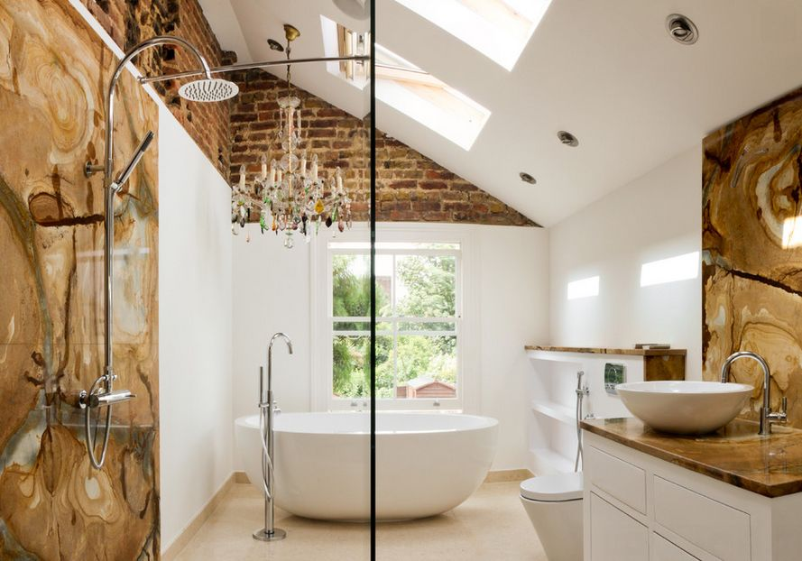 exposed brick walls in the bathroom