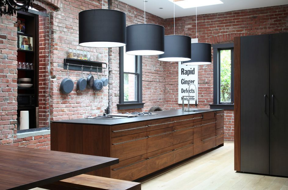 exposed brick walls - kitchen