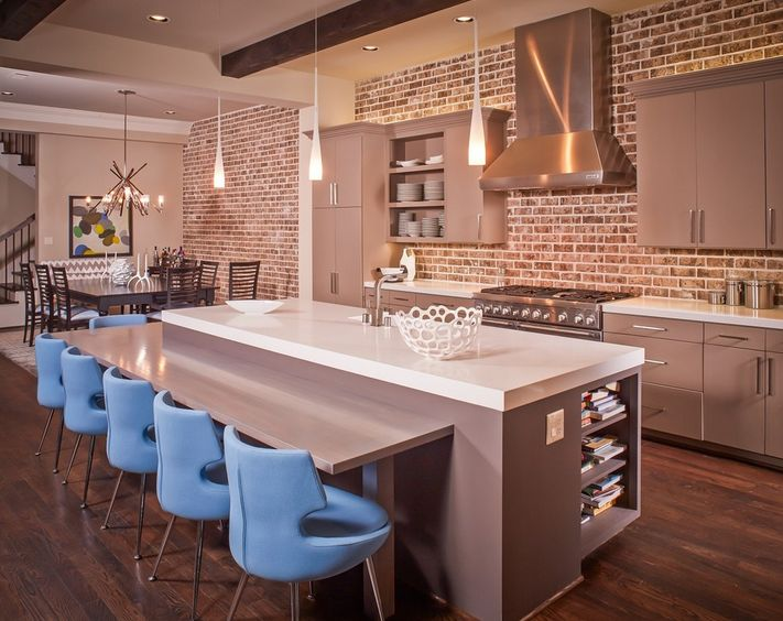 exposed bricks wall - kitchen
