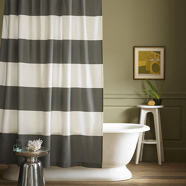 View In Gallery Gray And White Striped Shower Curtain