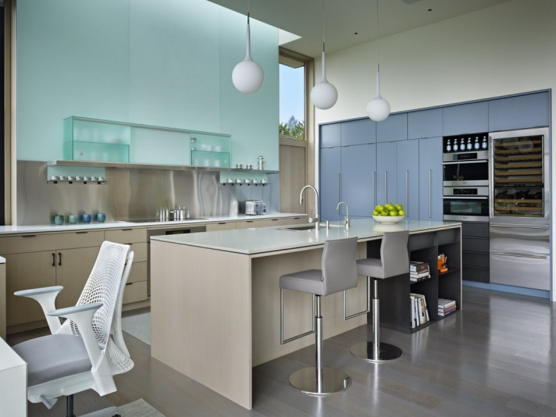kitchen island and fancy cabinets