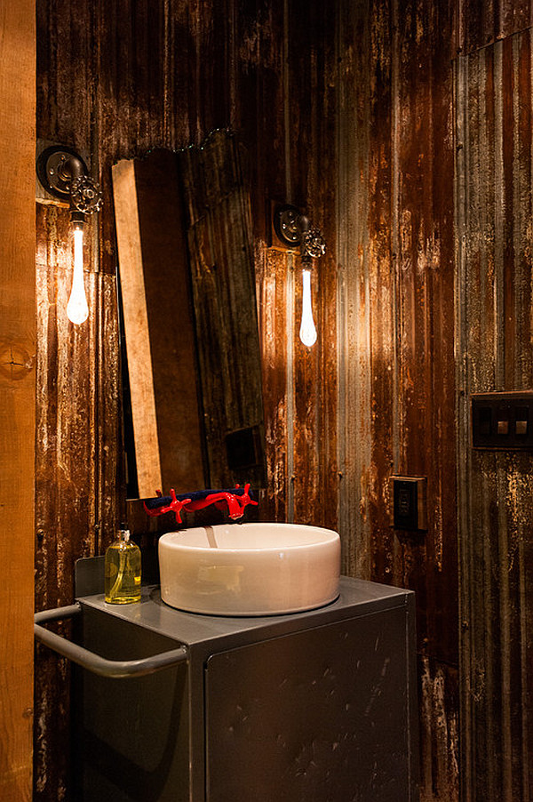 view in gallery minimalist steampunk bathroom