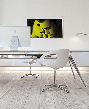 modern home office with Dinesen wood flooring
