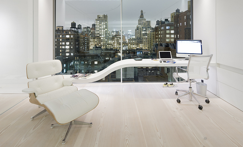 modern office with Douglas Dinesen wood floor