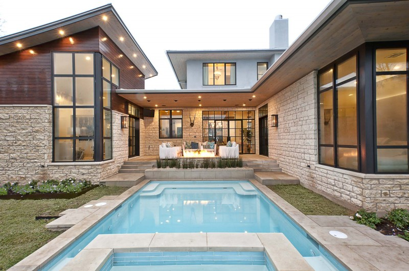 modern stone placqued home