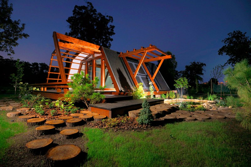 View In Gallery Night View   Self Sustainable House