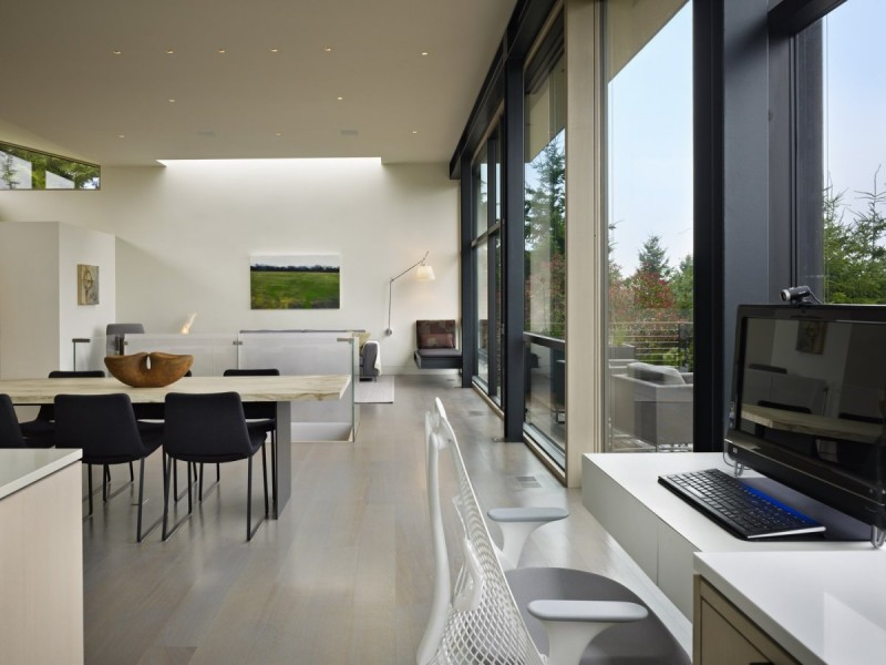 open space home office. Modern Hillside Renovation Stuns With Refined Interior Design Open Space Home Office