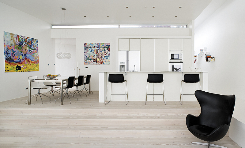 open space kitchen with Dinesen flooring