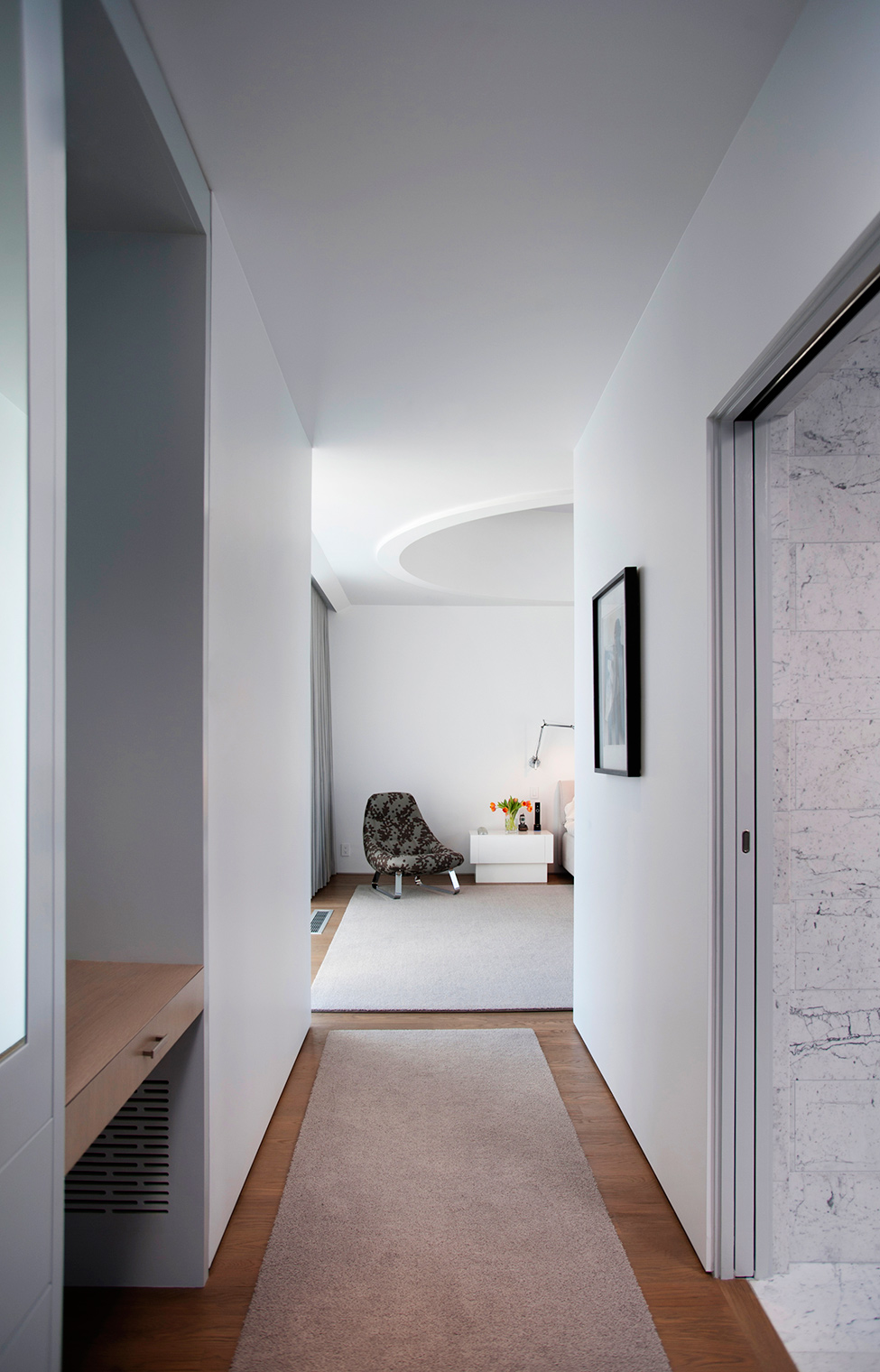 room decor with white walls