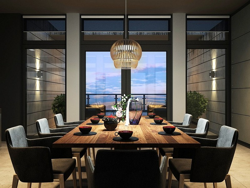 stylish modern dining room Dark Magic: Sophisticated Kiev Apartment With Striking Interiors And Panoramic Views